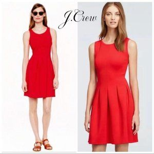 J. Crew Red Pleated Fit and Flare Dress
